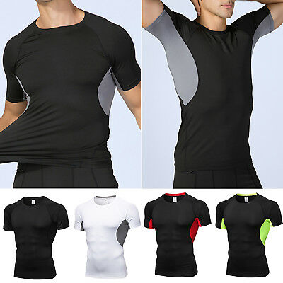 Mens Fitness Short Sleeve T-Shirt Casual Under Base Layer Compression Tee Shirt • 12.49£