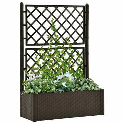 VidaXL Garden Raised Bed With Trellis And Self Watering System Mocha Planter • 107.99£
