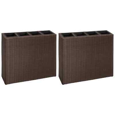 VidaXL 2x Garden Raised Bed With 4 Pots Poly Rattan Brown Outdoor Flower Boxes • 207.99£