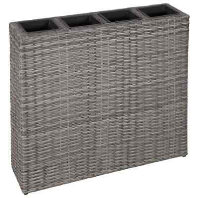 VidaXL Garden Raised Bed With 4 Pots Poly Rattan Grey Lawn Flower Raised Bed • 129.99£