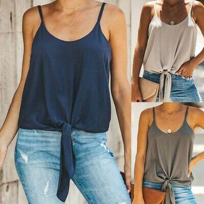Women Sleeveless Tie Front Vest Top Blouse Summer Strappy T-Shirt Cami Tank Tops • 10.89£