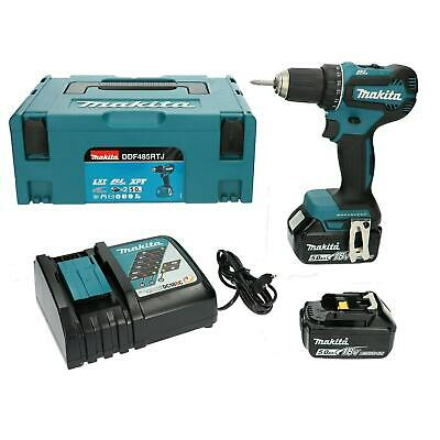 NEW Makita Drill Driver BL LXT DDF485RTJ 18v | 2 Batteries 5 Ah + Charger • 99£