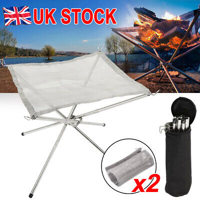 £17.79 • Buy Portable Folding Fire Pit Bonfire Stand For Outdoor BBQ Camping Patio + 2X Mesh