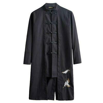 $66.99 • Buy Mens Chinese Style Tang Suit Trench Coat Mid Length Single Breasted Clothing