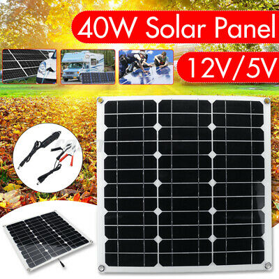 £14.68 • Buy 40W Solar Panel Kit 12V/5V Battery Charger 50A Controller USB RV Travel Camping