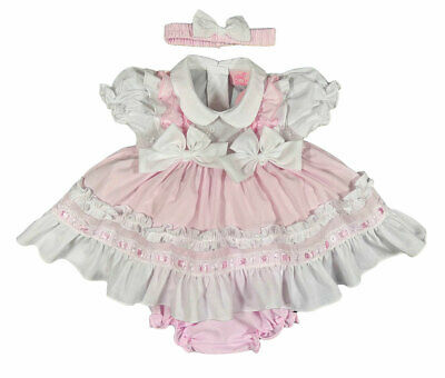 £11.99 • Buy Baby Girl FRILLY DRESS Spanish Style Set Outfit Knickers Headband BOWS