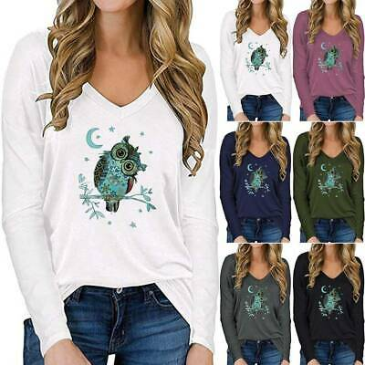 £14.59 • Buy Womens Owl Print Long Sleeve T-Shirt Ladies Loose Casual Blouse Tops Plus Size