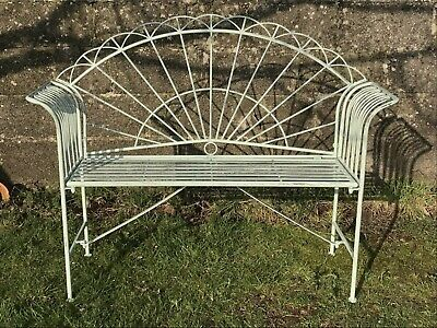 £133.50 • Buy 4' Arched Light Sage Green Two Seater Garden Metal Bench Seat Wrought Iron Style