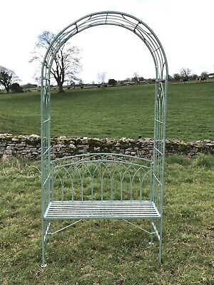 7' Tall Metal Wrought Iron Style Green Garden Two Seater Bench Arch Seat • 185£