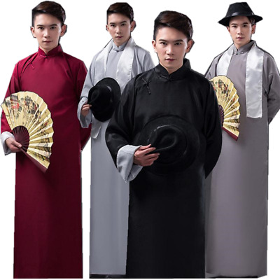 £19.99 • Buy Hot Chinese Men Ancient Mandarin Robe Long Gown Ip Man Costume Stage Dress With