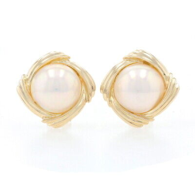 $499.99 • Buy Yellow Gold Mabe Pearl Large Stud Earrings - 14k Pierced Omega Closures