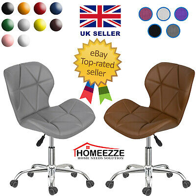 Cushioned Computer Desk Office Chair Chrome Legs Lift Swivel Small Adjustable UK • 39.79£