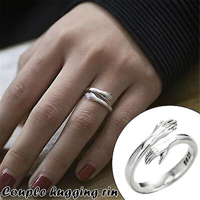 £4.74 • Buy 925 Silver Couple Cuddle Hug Rings Band Open Hand Lover Adjustable Jewellery New