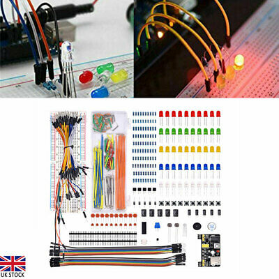 Electronic Component Starter Kit Wire Breadboard LED Buzzer Resistor Transistor • 12.70£
