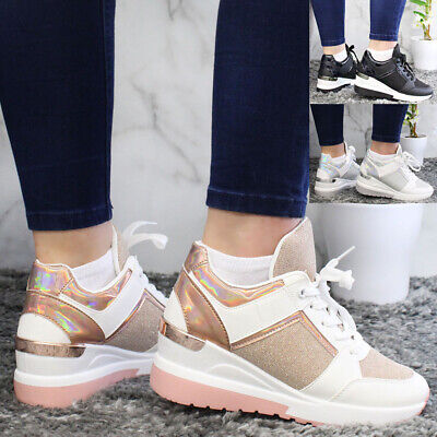 £17.95 • Buy Women Running Wedge Trainers Ladies Lace Up Gym Jogging Sneaker Sport Shoes Size