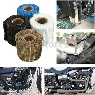 $6.95 • Buy 1m 2'' Inch 2mm Exhaust Insulator High Heat Header Wrap Pipe Tape Downpipe