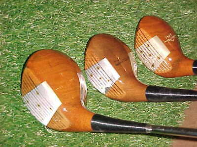 $63 • Buy PERSIMMON MacGregor Steel Face Golf Clubs Set Woods Driver 3 5 W New Tour Grips