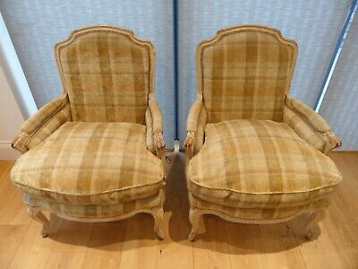 £450 • Buy A Pair Of French Louis Style Upholstered Armchairs Antique Cream Fired Earth