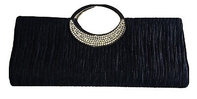 £6 • Buy Clutch Bag, Black With Faux Diamond Handle. Brand New