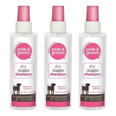£6.99 • Buy Pride & Groom Dry Doggie Shampoo Raspberry Scented Dog Cleans And Conditions X3