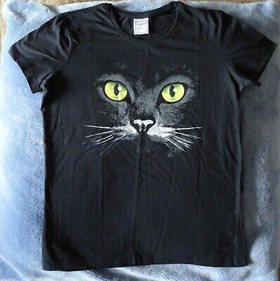 £6 • Buy Black Cat Face Print T-Shirt Womens / Girls Size [UK] M [Medium] New No Tags