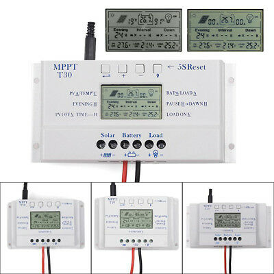 10A 20A 30A 40A MPPT Solar Charge Controller Battery Regulator 12V/24V 3 Timing • 22.95£