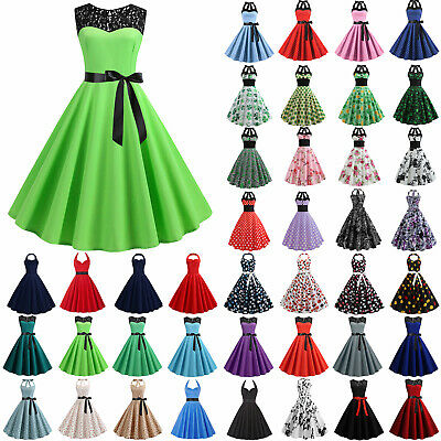 AU21.89 • Buy Women 60s Rockabilly W Swing Dress Cocktail Pinup Retro Casual Evening Party .