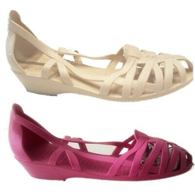 £6.95 • Buy WOMENS LADIES FLAT Wedge JELLY RUBBER RETRO 80`s CAGED SANDALS SHOES Size3,4,5,6