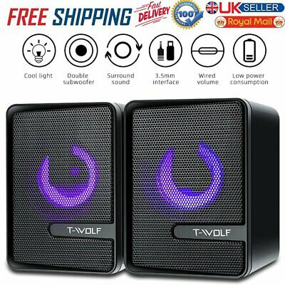 £11.99 • Buy Surround Sound System LED PC Speakers Gaming Bass USB Wired For Desktop Computer
