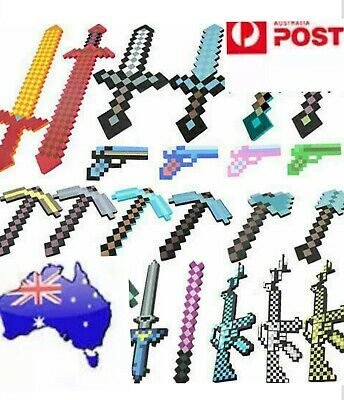 AU23.50 • Buy Minecraft Game Weapon Large Green Diamond Sword Or Pickaxe Foam Toy Kids Gift