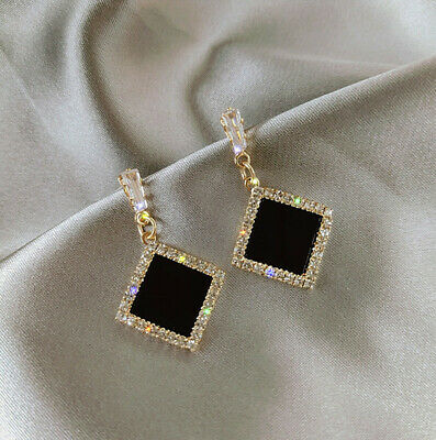 £3.69 • Buy Ladies Fashion Silver And Gold Crystal Black Diamond Shaped Drop Earrings UK