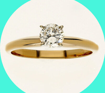 AU785.34 • Buy New W/tag .40C Diamond Solitaire Engagement Ring 14K Yellow Gold Round Brilliant