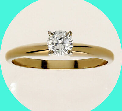 AU443.88 • Buy New W/tag .26C Diamond Solitaire Engagement Ring 14K Yellow Gold Round Brilliant