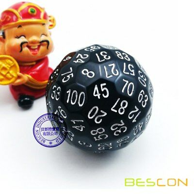 AU21.69 • Buy Bescon Polyhedral Dice 100 Sided, D100 Game Dice, 100 Sides Dice Solid Black