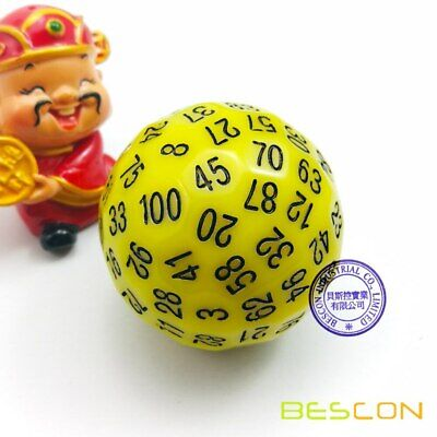 AU22.98 • Buy Bescon Polyhedral Dice 100 Sides Dice,D100 Game Dice,100-Sided Cube Yellow Color