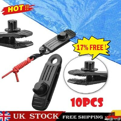 10x Reusable Heavy Duty Linoleum Clip Fixed Plastic Clip Outdoor Tent UK STOCK • 6.49£