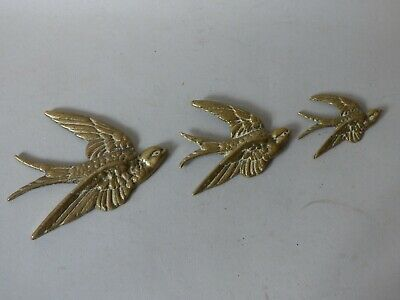 £54.99 • Buy Collectable Graduated Brass Swallow Swift Bird Hanging Wall Plaques #1 Free Uk P