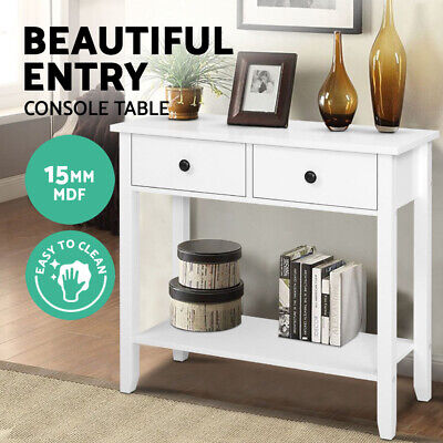 AU89.95 • Buy Hallway Console Table Hall Side Entry 2 Drawers Display White Desk Furniture