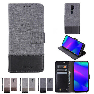 AU10.99 • Buy Canvas Leather Wallet Case Cover For Oppo A53S R17Pro RENO 5Pro+(5G) FIND X2Pro