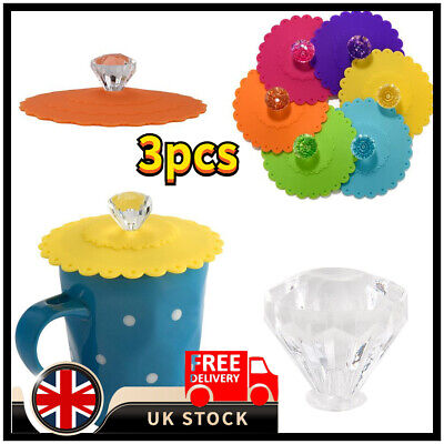 £5.26 • Buy 3XSilicone Cup Lid Glass Drink Cover Anti-dust Coffee Mug Suction Seal Lid C Ap