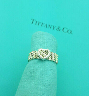 £287.99 • Buy Tiffany & Co. Rare Silver Heart And Mesh Band Ring Size Q UK, 8 US Or 57 1/2 EU