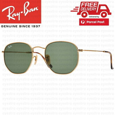 AU99.99 • Buy RayBan Hexagonal Flat Gold Sunglasses G-15 Lens RB3548 001 51mm Ray-Ban