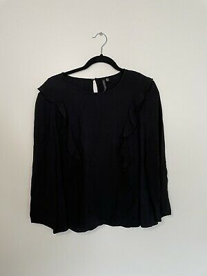 AU12 • Buy Forever New Ruffle Black Shirt - Size 14 - Excellent Condition