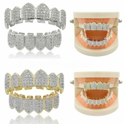 £15.49 • Buy Diamond Hip Hop Teeth Mouth Grills Gold Silver Plated Top & Bottom Set Grillz ##