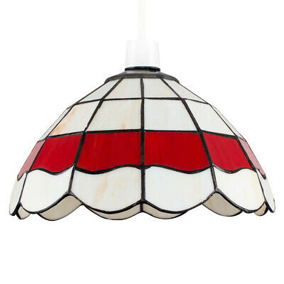 £24.99 • Buy Vintage Style Pendant Light Shade Cream  Red Stained Glass Ceiling Lampshade