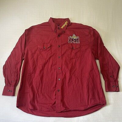 $71.98 • Buy Wrangler Rodeo NFR Mens XL Las Vegas 2015 Button Down Red Embroidered Western