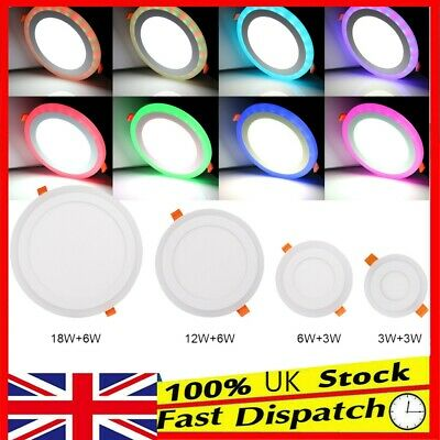 £19.98 • Buy Ultra Slim Recessed Dual Color RGB LED Flat Panel Ceiling Spot Lights Downlights