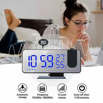 AU36.99 • Buy LED Digital Projection Alarm Clock FM Radio Snooze Dimmer Ceiling Projector CA