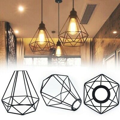 £8.27 • Buy Geometric Metal Cage Industrial Wire Frame Pendant Light Loft Ceiling Lamp Shade