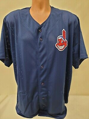 $14.99 • Buy 1324 Mens Majestic CLEVELAND INDIANS Full Button Down Baseball JERSEY BLUE New